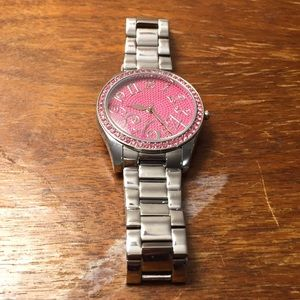 Betsey Johnson Accessories - Betsey Johnson pink bling watch - needs battery